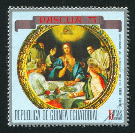 mannerism: EQUATORIAL GUINEA - CIRCA 1973: stamp printed by Equatorial Guinea, shows Supper at Emmaus, by Pontormo, circa 1973