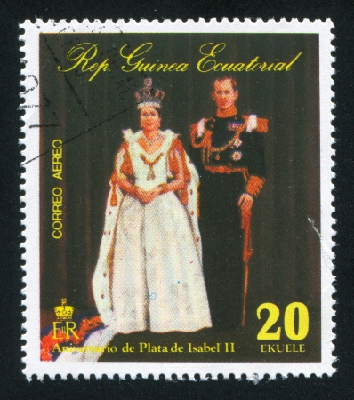 EQUATORIAL GUINEA - CIRCA 1976: stamp printed by Equatorial Guinea, shows Isabel II and her hudband, circa 1976 Stock Photo - 16745344