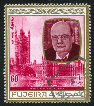 FUJEIRA - CIRCA 1976: stamp printed by Fujeira, shows Winston Churchill, circa 1976 Stock Photo - 16745429