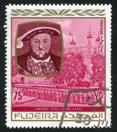 fujeira: FUJEIRA - CIRCA 1976: stamp printed by Fujeira, shows King Henry VIII, circa 1976