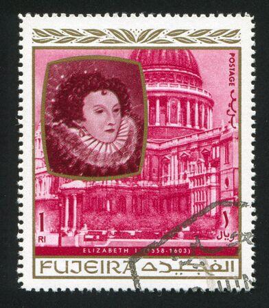 fujeira: FUJEIRA - CIRCA 1976: stamp printed by Fujeira, shows Queen Elizabeth I, circa 1976 Editorial