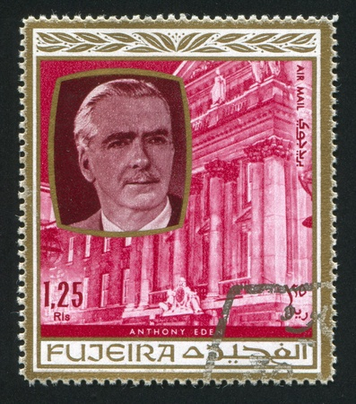 FUJEIRA - CIRCA 1976: stamp printed by Fujeira, shows Anthony Eden, circa 1976 Stock Photo - 16745490