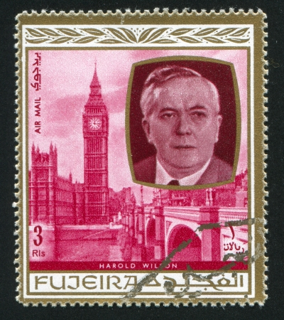 FUJEIRA - CIRCA 1976: stamp printed by Fujeira, shows Harold Wilson, circa 1976
