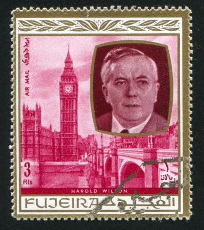 FUJEIRA - CIRCA 1976: stamp printed by Fujeira, shows Harold Wilson, circa 1976 Stock Photo - 16745561