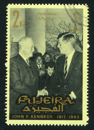 FUJEIRA - CIRCA 1976: stamp printed by Fujeira, shows John Kennedy, circa 1976