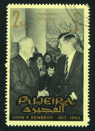 FUJEIRA - CIRCA 1976: stamp printed by Fujeira, shows John Kennedy, circa 1976 Stock Photo - 16745416