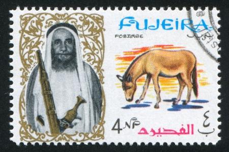 fujeira: FUJEIRA - CIRCA 1976: stamp printed by Fujeira, shows a Man and a Donkey, circa 1976