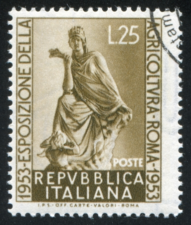 ITALY - CIRCA 1953: stamp printed by Italy, shows Goddess of Fotune Tyche, circa 1953 Stock Photo - 16745396