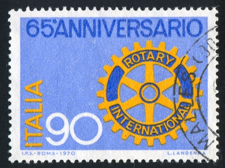 signifier: ITALY - CIRCA 1970: stamp printed by Italy, shows Rotary emblem, circa 1970