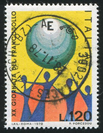 signifier: ITALY - CIRCA 1978: stamp printed by Italy, shows People hailing Europe, circa 1978 Editorial