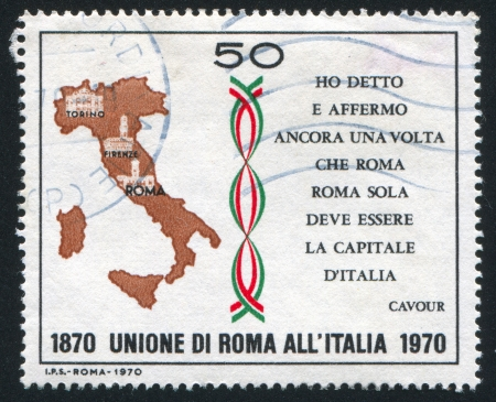 ITALY - CIRCA 1970: stamp printed by Italy, shows Map of Italy and quotation of Count Camillo Cavour, circa 1970
