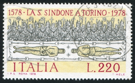 ITALY - CIRCA 1978: stamp printed by Italy, shows Holy shroud of Turin by Giovanni Testa, circa 1978 Stock Photo - 16745555