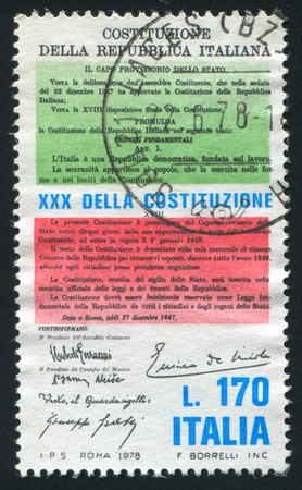 lawmaking: ITALY - CIRCA 1978: stamp printed by Italy, shows Constitution, circa 1978
