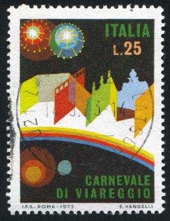 viareggio: ITALY - CIRCA 1973: stamp printed by Italy, shows Viareggio by night, circa 1973 Editorial
