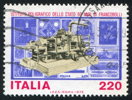 military press: ITALY - CIRCA 1979: stamp printed by Italy, shows Printing press and stamps, circa 1979