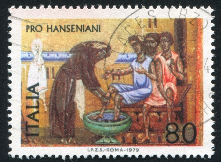 ITALY - CIRCA 1979: stamp printed by Italy, shows Saint Francis washing lepers, circa 1979