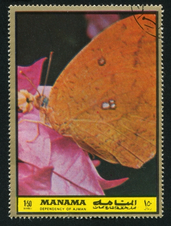 MANAMA - CIRCA 1972: stamp printed by Manama, shows Butterfly, circa 1972 Stock Photo - 16745249