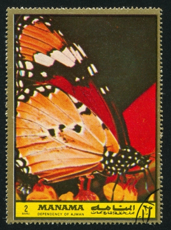 hindwing: MANAMA - CIRCA 1972: stamp printed by Manama, shows Butterfly, circa 1972