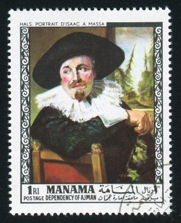 frans: MANAMA - CIRCA 1972: stamp printed by Manama, shows Portrait of Isaak Abrahamsz Massa by Frans Hals, circa 1972