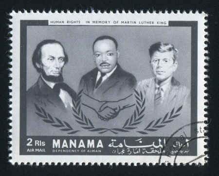 MANAMA - CIRCA 1971: stamp printed by Manama, shows Lincoln, Kennedy and Martin Luther King, circa 1971 Stock Photo - 16745327