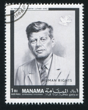 MANAMA - CIRCA 1971: stamp printed by Manama, shows John Kennedy, circa 1971