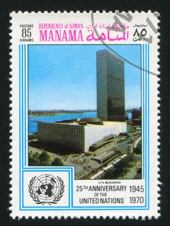 MANAMA - CIRCA 1970: stamp printed by Manama, shows United Nations Headquarters, circa 1970