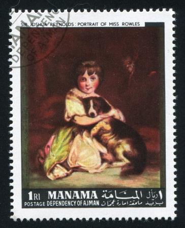 MANAMA - CIRCA 1971: stamp printed by Manama, shows Portrait of Miss Rowless by Joshua Reynolds, circa 1971 Stock Photo - 16745202