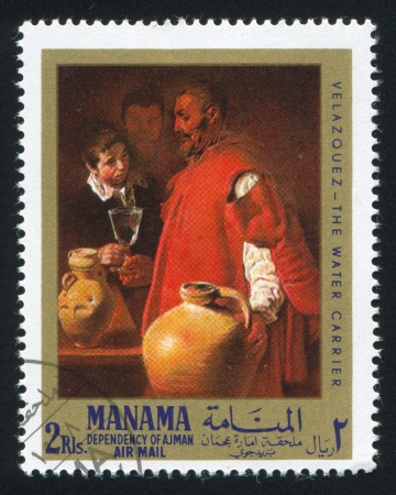 velazquez: MANAMA - CIRCA 1971: stamp printed by Manama, shows The Water Carrier by Velazquez, circa 1971 Editorial