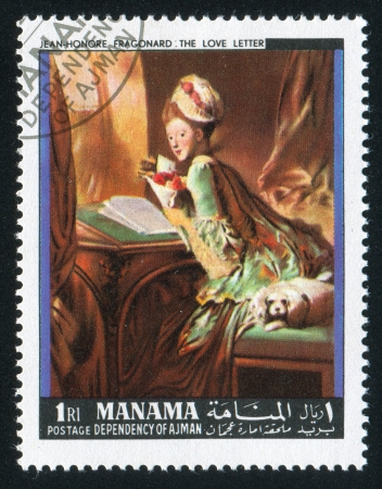 MANAMA - CIRCA 1971: stamp printed by Manama, shows The Love Letter by Fragonard, circa 1971 Stock Photo - 16745267