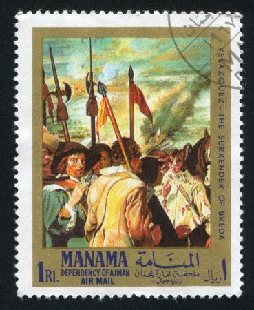 velazquez: MANAMA - CIRCA 1971: stamp printed by Manama, shows The Surrender of Breda by Velazquez, circa 1971 Editorial