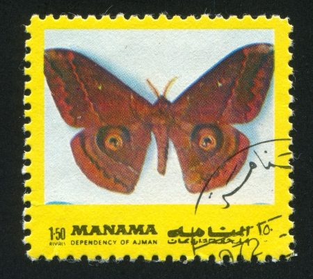 MANAMA - CIRCA 1971: stamp printed by Manama, shows a Butterfly, circa 1971 Stock Photo - 16745563