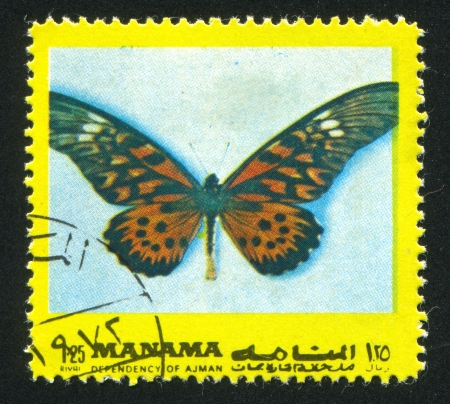 hindwing: MANAMA - CIRCA 1971: stamp printed by Manama, shows a Butterfly, circa 1971