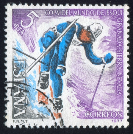 SPAIN - CIRCA 1977: stamp printed by Spain, shows Slalom, circa 1977
