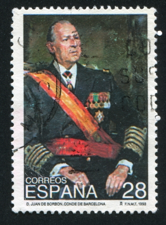 SPAIN - CIRCA 1993: stamp printed by Spain, shows Portrait of Don Juan de Borbon, Count of Barcelona, circa 1993 Stock Photo - 16745402