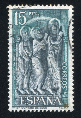 SPAIN - CIRCA 1973: stamp printed by Spain, shows Three Saints, Sculpture, St.Domingo de Silos, circa 1973 Stock Photo - 16745346