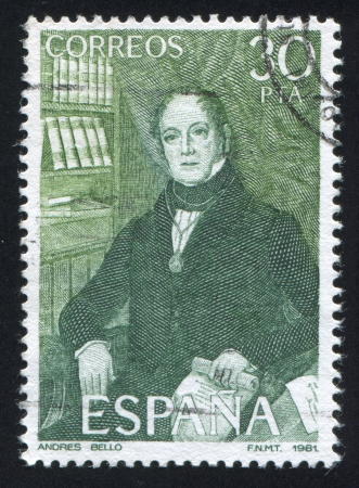 SPAIN - CIRCA 1981: stamp printed by Spain, shows portrait of Andres Bello, writer, circa 1981