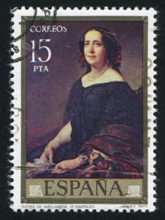 gomez: SPAIN - CIRCA 1977: stamp printed by Spain, shows Painting of Senora Gomez de Avellaneda, Federico Madrazo, circa 1977