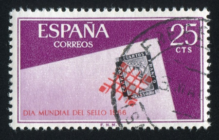 signifier: SPAIN - CIRCA 1966: stamp printed by Spain, shows Stamp day, circa 1966 Editorial