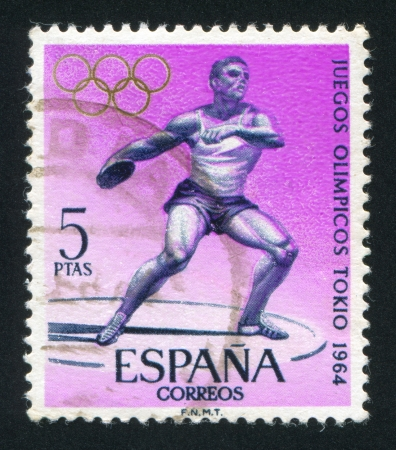 SPAIN - CIRCA 1964: stamp printed by Spain, shows Discus, Throwing, circa 1964 Stock Photo - 16745378