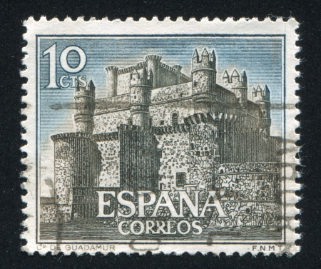 SPAIN - CIRCA 1966: stamp printed by Spain, shows Castle Guadamur, circa 1966 Stock Photo - 16745567