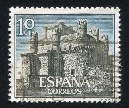 SPAIN - CIRCA 1966: stamp printed by Spain, shows Castle Guadamur, circa 1966 Stock Photo - 16745567
