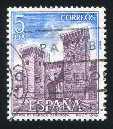 SPAIN - CIRCA 1979: stamp printed by Spain, shows Daroca Gate, Zaragoza, circa 1979 Stock Photo - 16745471