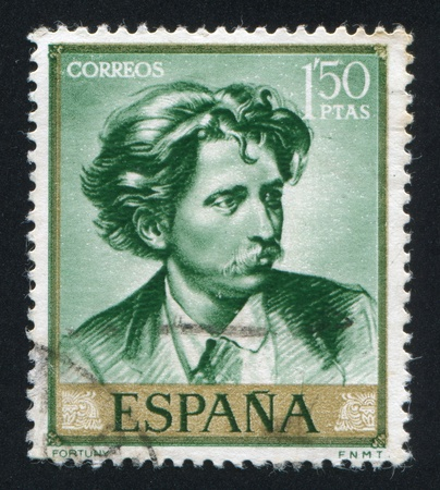 mariano: SPAIN - CIRCA 1968: stamp printed by Spain, shows self-portrait of Mariano Fortuny, circa 1968