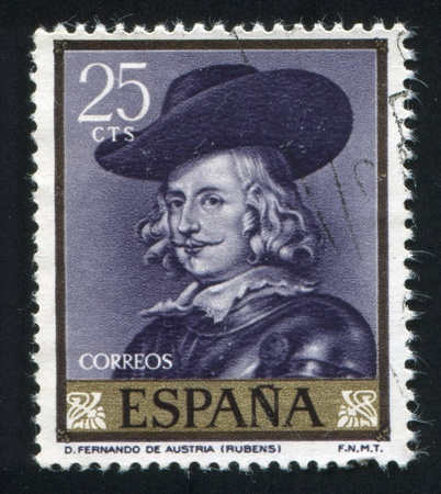 SPAIN - CIRCA 1962: stamp printed by Spain, shows Painting of Ferdinand of Austria, Rubens, circa 1962 Stock Photo - 16745278