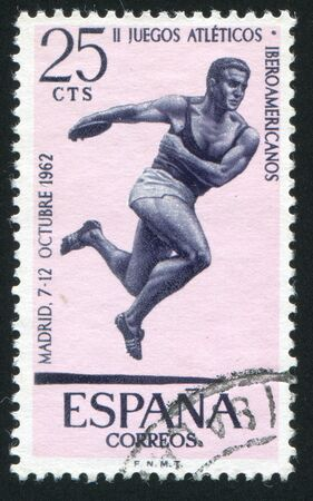 SPAIN - CIRCA 1962: stamp printed by Spain, shows Discus, Throwing, circa 1962 Stock Photo - 16745254