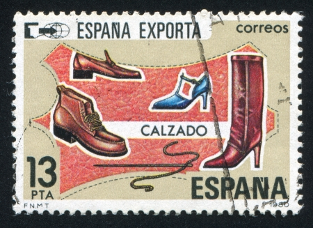 needle lace: SPAIN - CIRCA 1980: stamp printed by Spain, shows Exports, Shoes, circa 1980