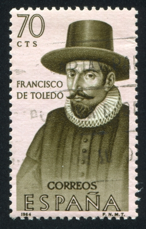 SPAIN - CIRCA 1964: stamp printed by Spain, shows Portrait of Francisco de Toledo, circa 1964 Stock Photo - 16745302