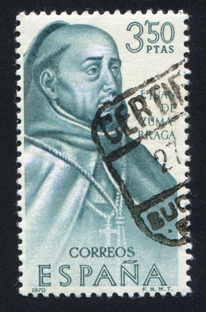cassock: SPAIN - CIRCA 1970: stamp printed by Spain, shows Portrait of E.Juan de Zumabraga, circa 1970 Editorial