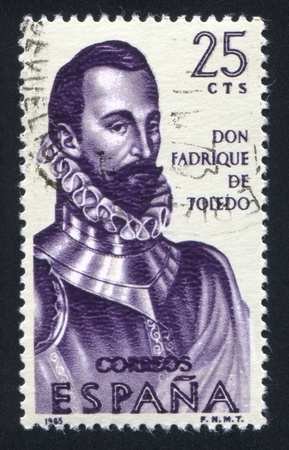 SPAIN - CIRCA 1965: stamp printed by Spain, shows Portrait of Don Fadrique de Toledo, circa 1965 Stock Photo - 16745235