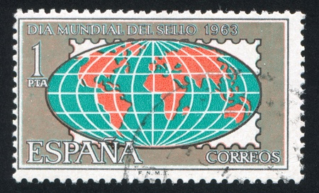 SPAIN - CIRCA 1963: stamp printed by Spain, shows Globe, circa 1963 Stock Photo - 16745576